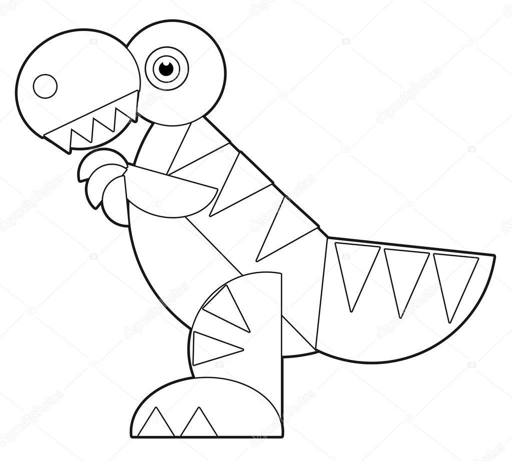 The cartoon dinosaur coloring page for the children — Stock Photo ...