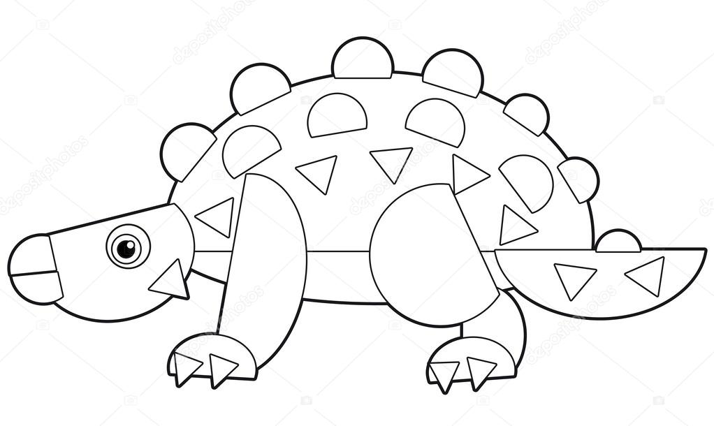 The cartoon dinosaur coloring page for the children