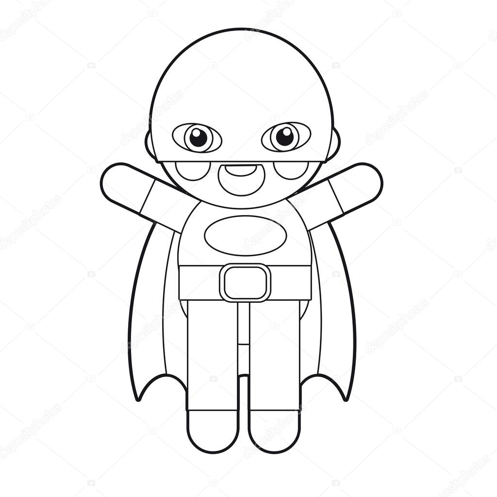 cartoon boy doll coloring page illustration for the