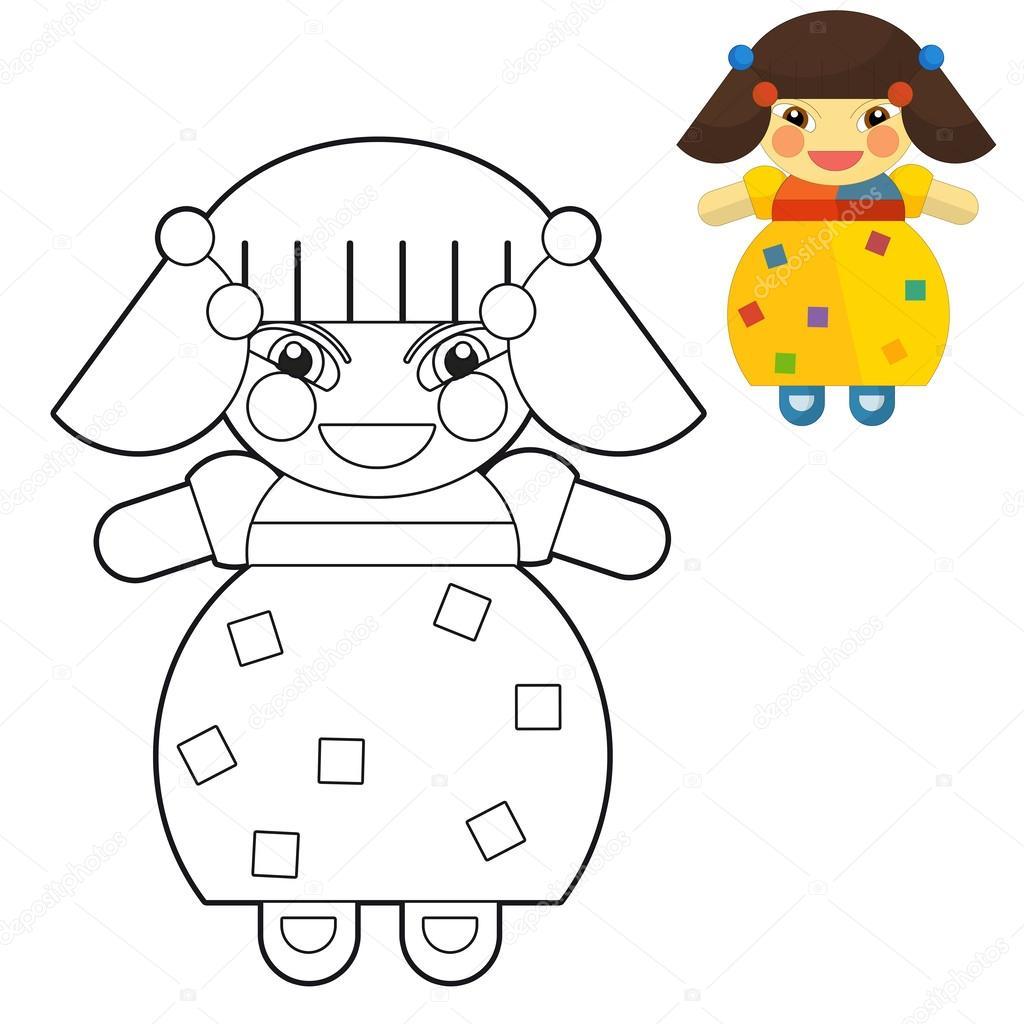 Ilustración de muñeca - Página para colorear - niña - niño - para ...
