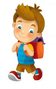 Cartoon child going to the school