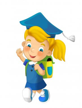 Cartoon child going to the school