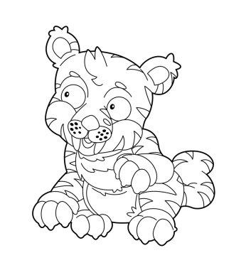 Cartoon wild tiger - illustration for the children stock vector