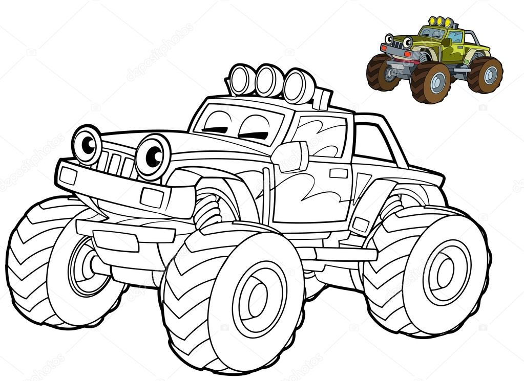 Jeep Coloring Page Stock Photo C Illustrator Hft 39884997