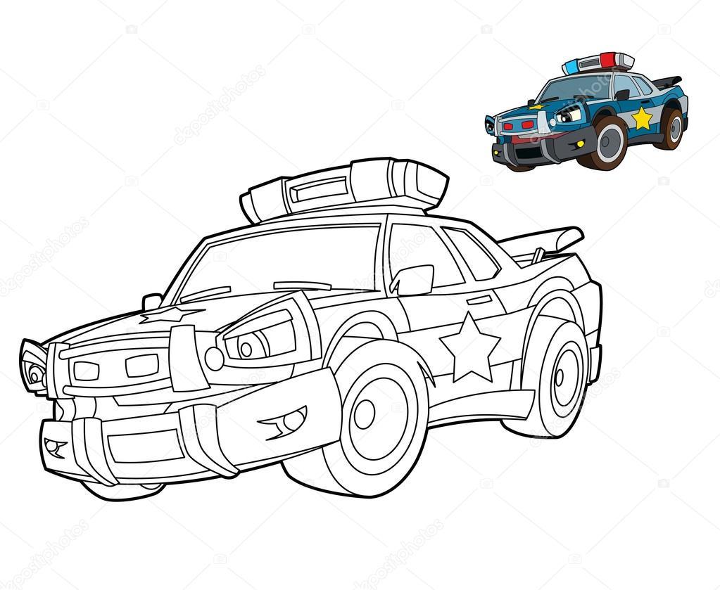 Kleurplaten Politieauto.Politieauto Kleuren Pagina Stockfoto C Illustrator Hft 39885063