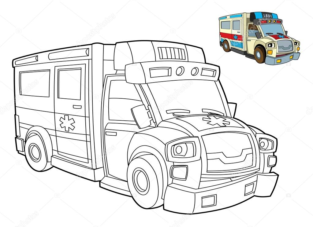 Ambulance Kleurplaat Stockfoto C Illustrator Hft 39885077