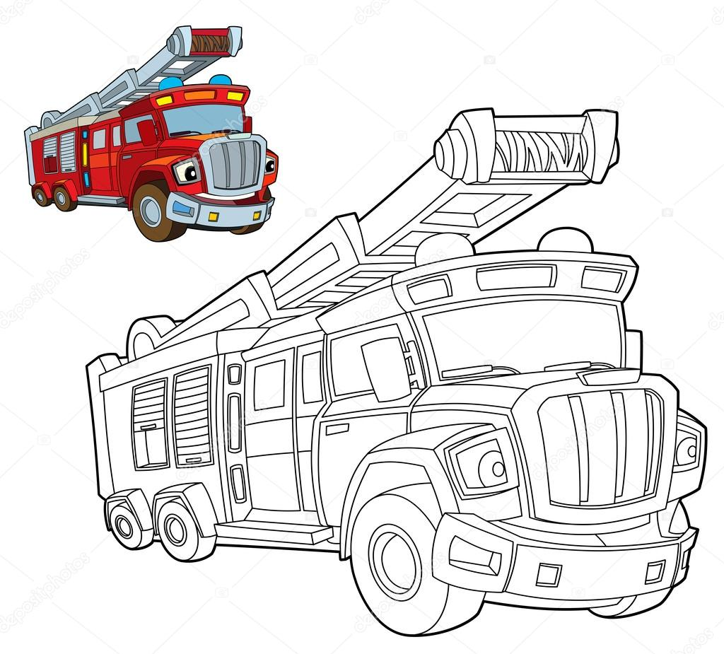 Página para colorear-carro de fuego — Foto de stock ...