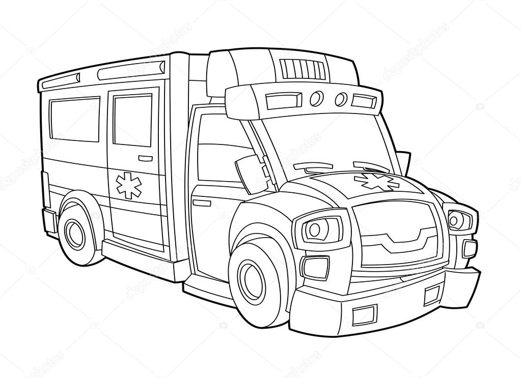 Ambulans Boyama Sayfası Stok Foto Illustratorhft 39980103