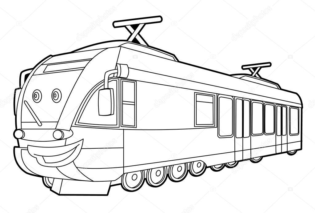 Kleurplaten Voertuigen Trein.Snelheid Trein Kleurplaat Stockfoto C Illustrator Hft 40430391