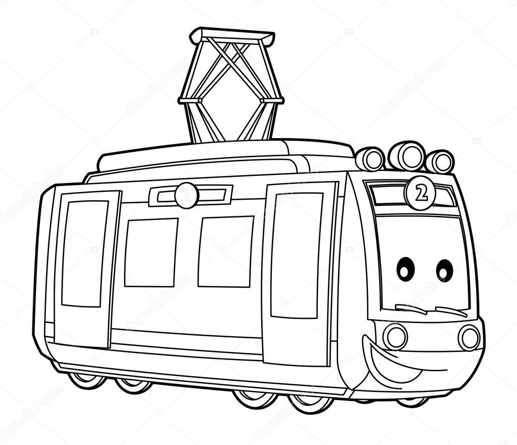 Tram Coloring Page Stock Photo C Illustrator Hft 40430589