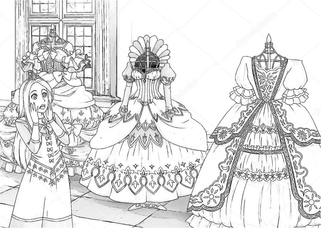 Kleurplaten Watermolen.De Schets Kleurplaat Stockfoto C Illustrator Hft 47548893