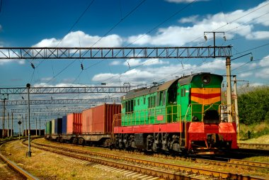 The diesel train with wagon
