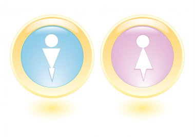 Vector icons with man and woman silhouette