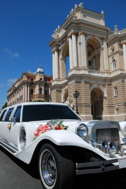 White wedding limousine near the house
