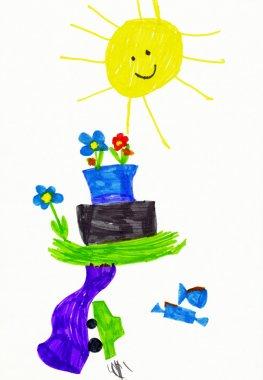 Children's drawing. various fantasy