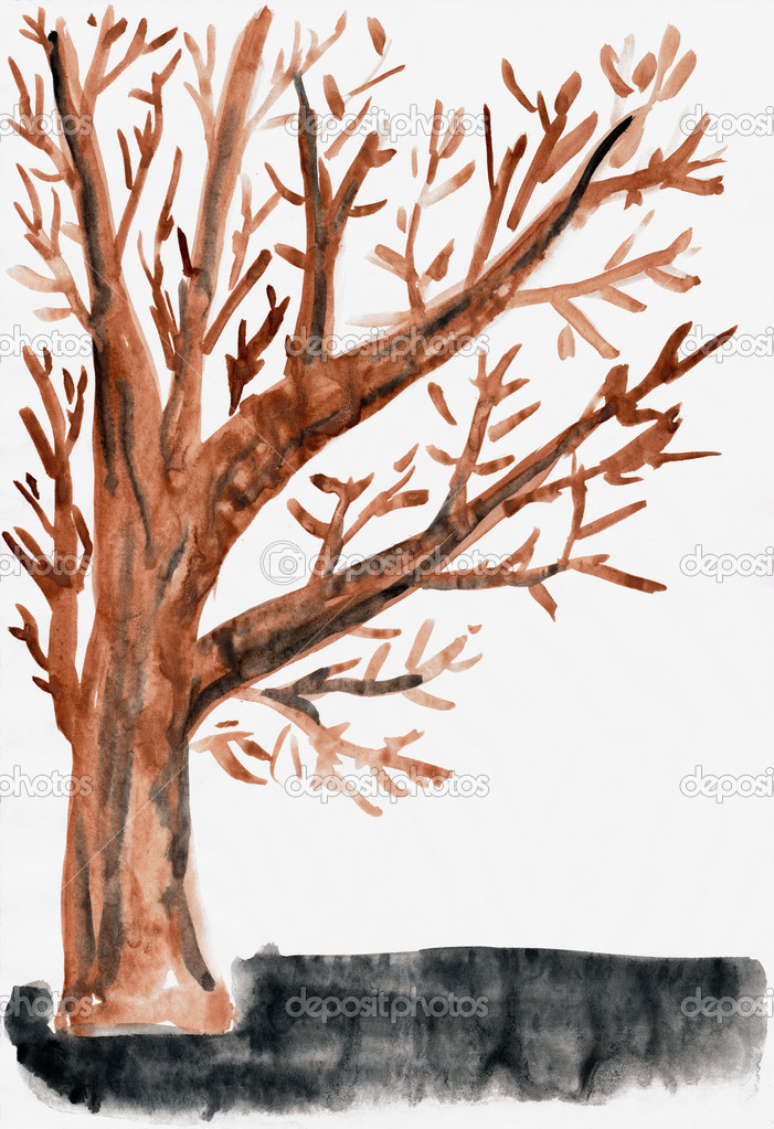 Child S Drawing Watercolor Isolated Autumn Tree Stock Photo