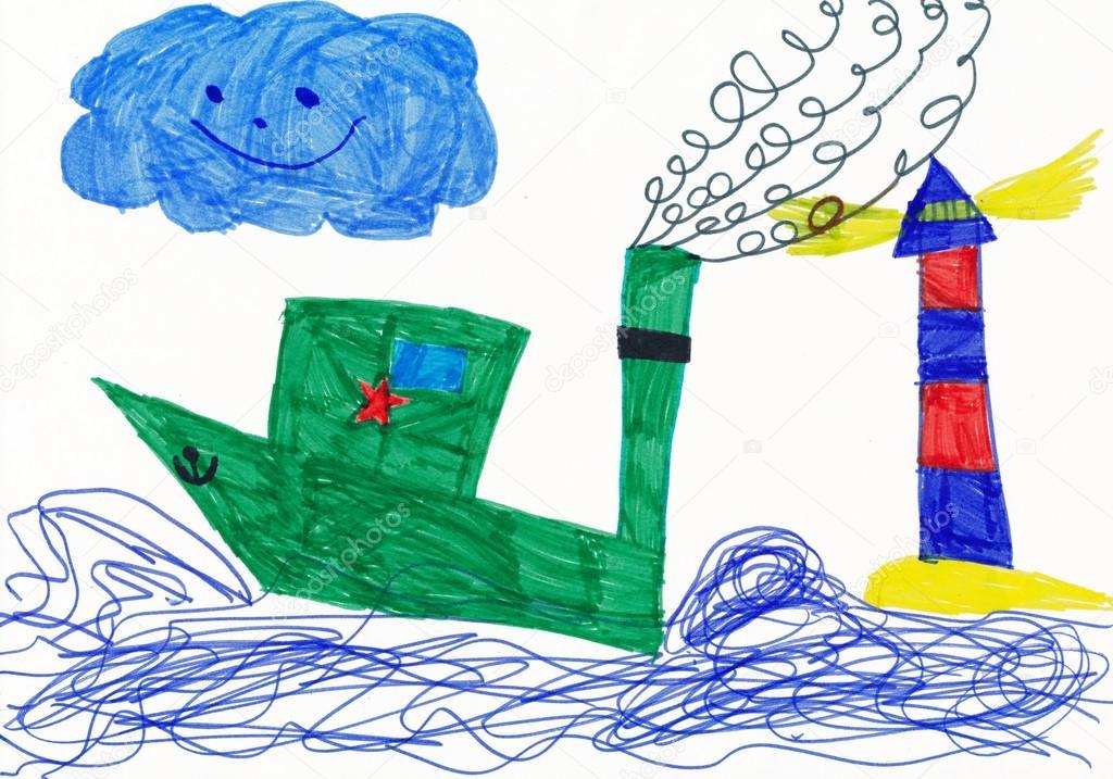 çocukça Boya Lighthouse Yakınındaki Savaş Gemisi Stok Foto