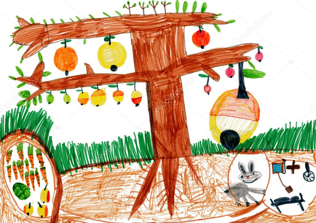 Apple tree and rabbit in a hole.