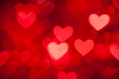Red bokeh of hearts background
