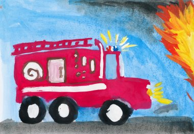 fire truck. child's drawing.