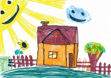 Rural house and smiling sun. child's drawing.