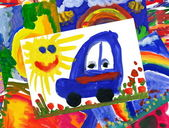 malované auto s obrázek koláž