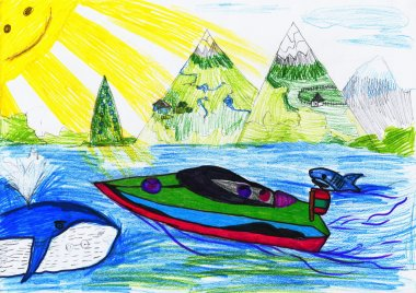 boat at sea. child's drawing