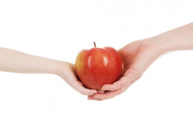 red apple in child and mommy hands