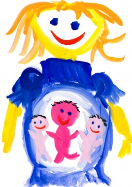child's drawing. pregnant woman