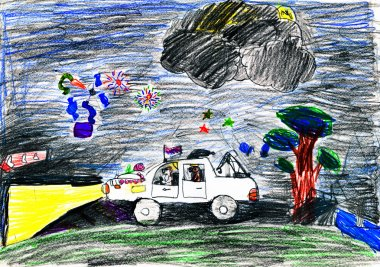 dogs travel on auto at night. child's drawing.