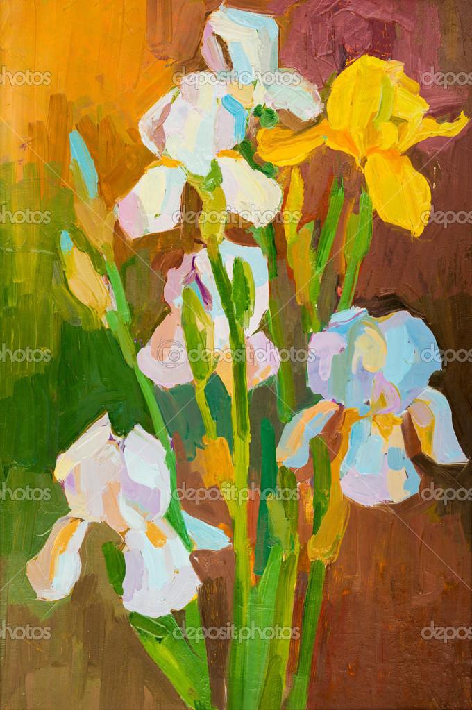 dipinto ad olio su tela. mazzo di fiori — Foto Stock © soleg #35753937