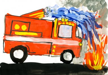 fire truck. child drawing watercolor.