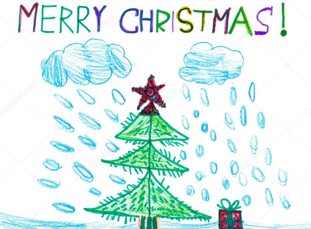 Wesołych świąt Bożego Narodzenia Akwarela Rysunek Dziecka Zdjęcie