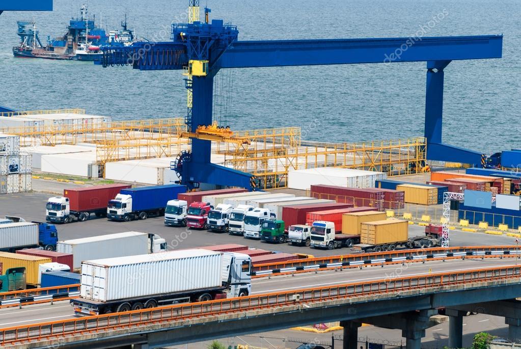 cargo transportation truck and ship