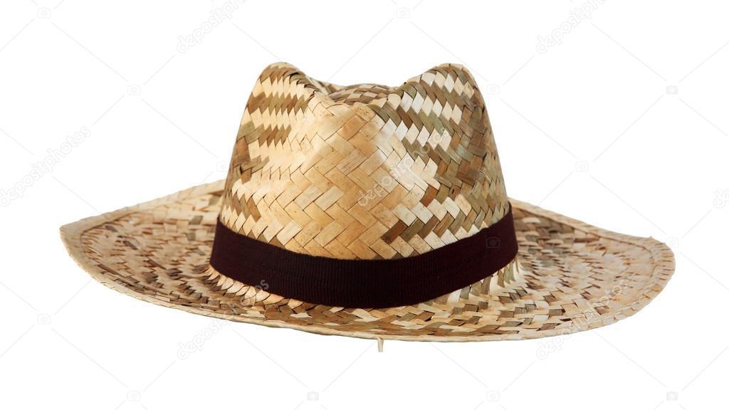 d24af3247c3b5 sombrero de mimbre con tela marrón aislado — Fotos de Stock ...