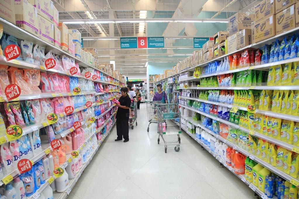 Goods on Aisle at Tesco Lotus supermarket