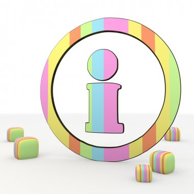 colorful childish information icon inside the circle