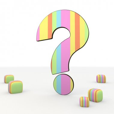 Isolated playful fresh question mark qiuz 3d icon