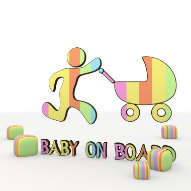 nice 3d icon with baby on board