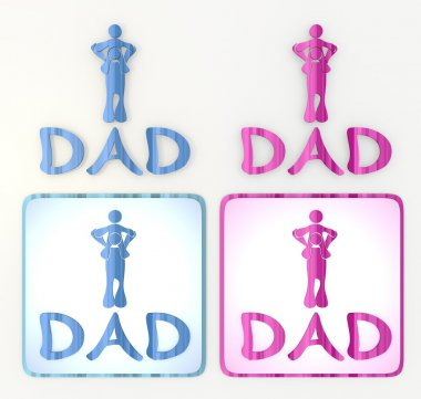 the new funny dad icon in pink and blue