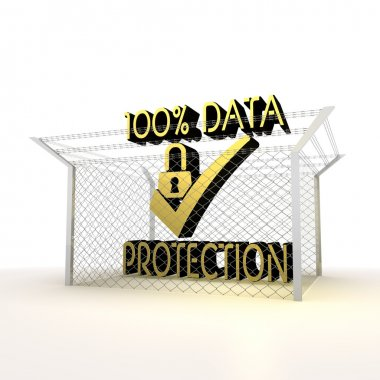 Isolated metallic barbed cent percent data protection icon