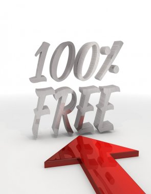 Metallic decorative percent free icon with red arrow