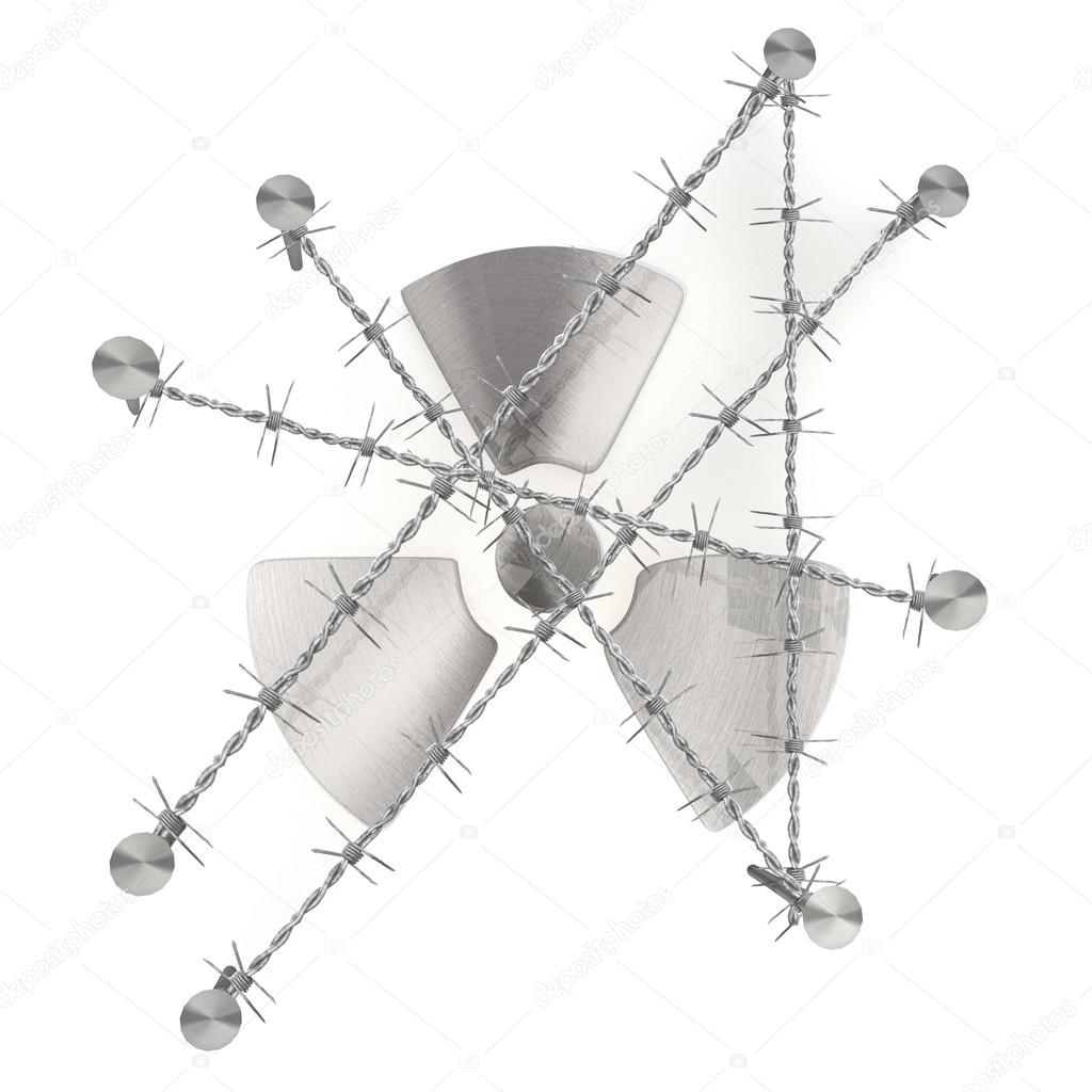 Caged atom symbol illustrated design with razor wire — Stock Photo ...