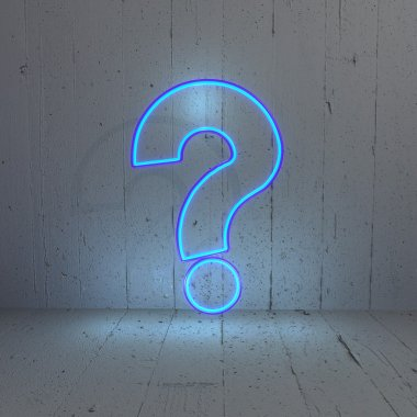 Illuminated question mark icon in a stylish background