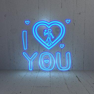 Illuminated I love you symbol in a modern background