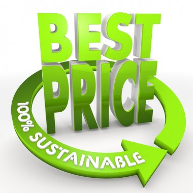 100 percent sustainable best price icon in a white background