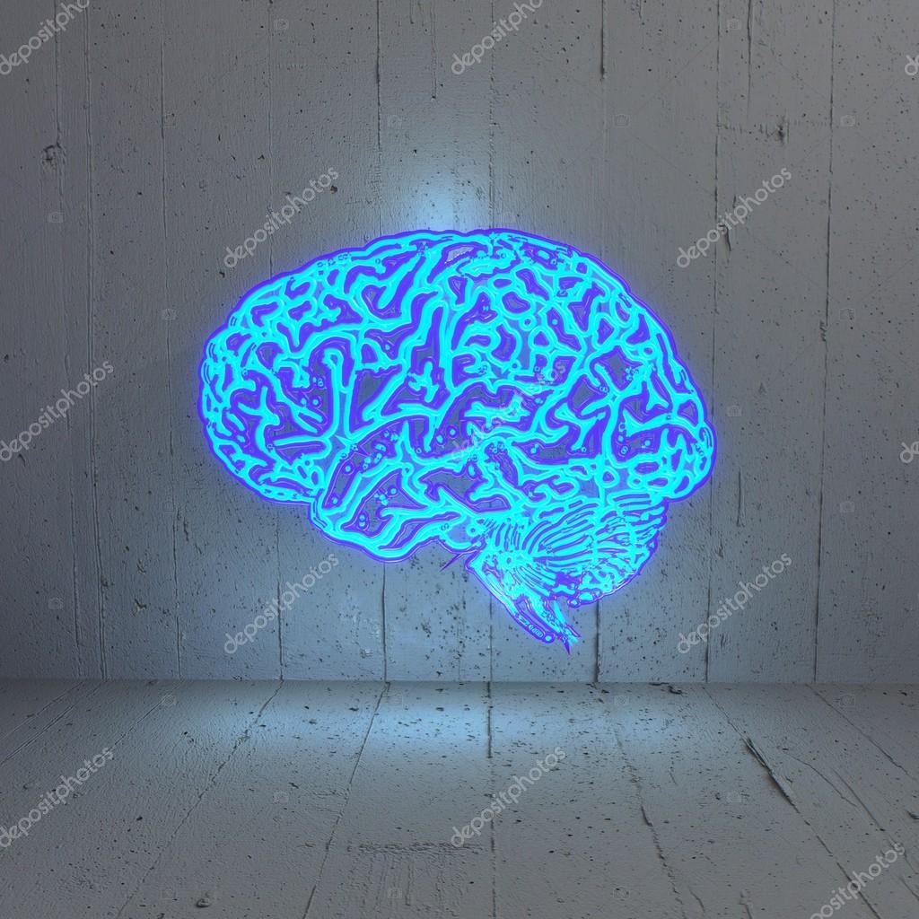 stilvolles lichtleben plakat stilvolles 3d grafik beleuchtet bluelight gehirn in einem stilvollen rahmen foto von onirb beleuchtete stockfoto