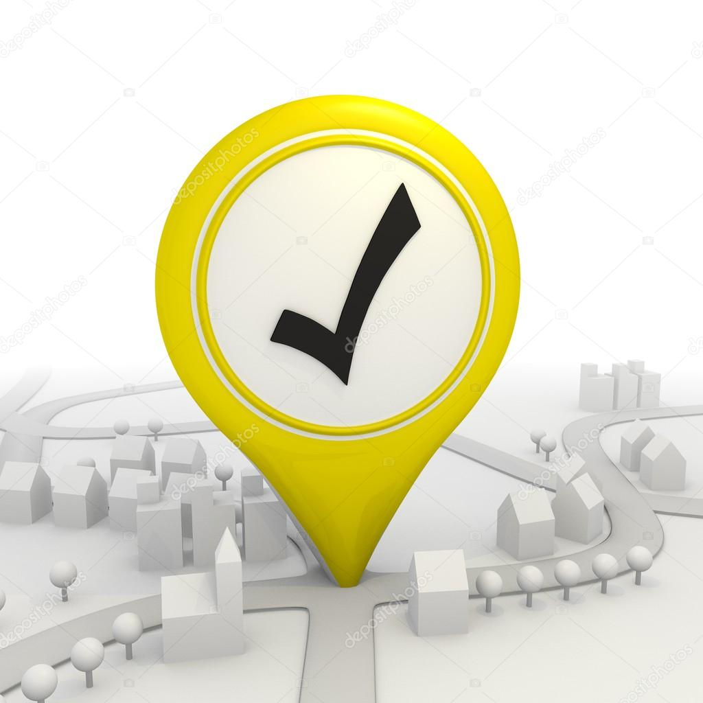 Isolated check pictogram inside a yellow map pointer