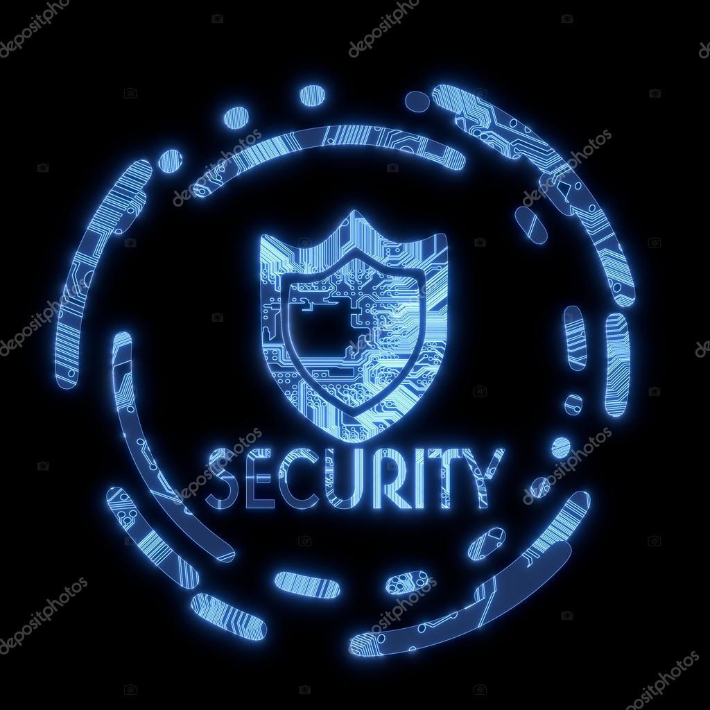 beleuchtete blau elektronische Sicherheitssysteme-Symbol auf einem ...