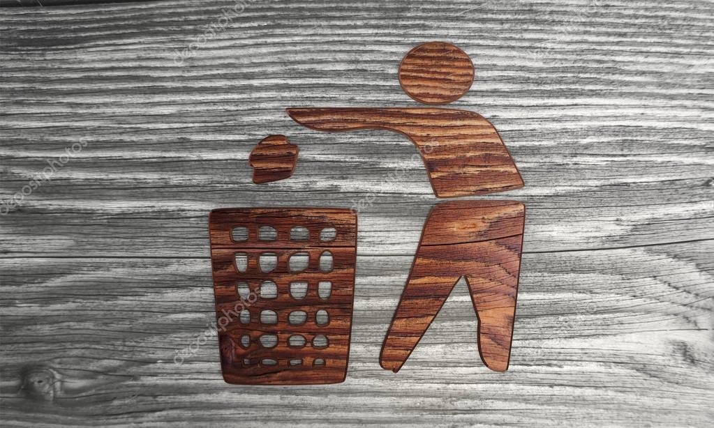 Biological delete symbol in a wooden background